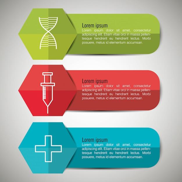 Medizinische infografiken mit drei optionen Kostenlosen Vektoren