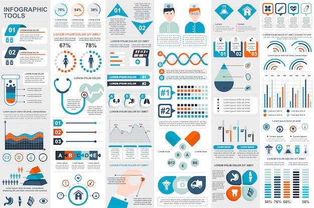 Medizinische infographic elementvektor-designschablone Premium Vektoren