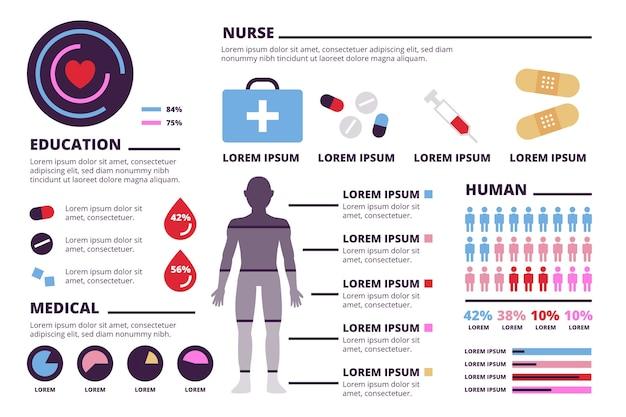 Medizinische infographik elemente sammlung Kostenlosen Vektoren