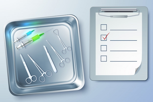 Medizinische instrumente mit spritzen pinzette skalpell schere notizblock in sterilisator illustration Premium Vektoren