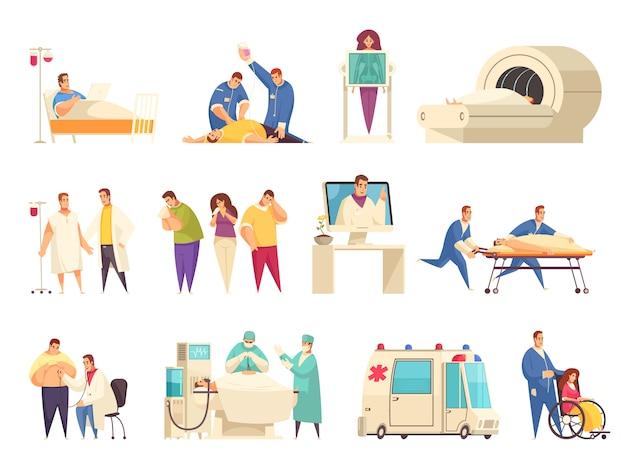 Medizinische isolierte ikone gesetzt mit er pflegeheim krankenhausaufenthalt reanimation mri beschreibungen vektor-illustration Kostenlosen Vektoren