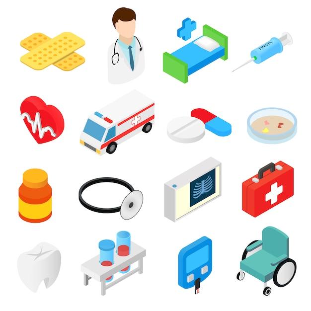 Medizinische isometrische sammlung der symbole 3d Premium Vektoren