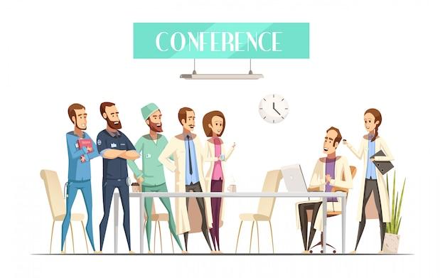Medizinische konferenz mit publikum in der nähe von tabelle und dozent mit computer- und assistenzkarikaturretrostil Kostenlosen Vektoren