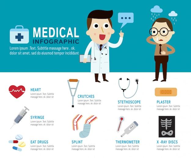 Medizinische konzept-infografik-elemente Premium Vektoren