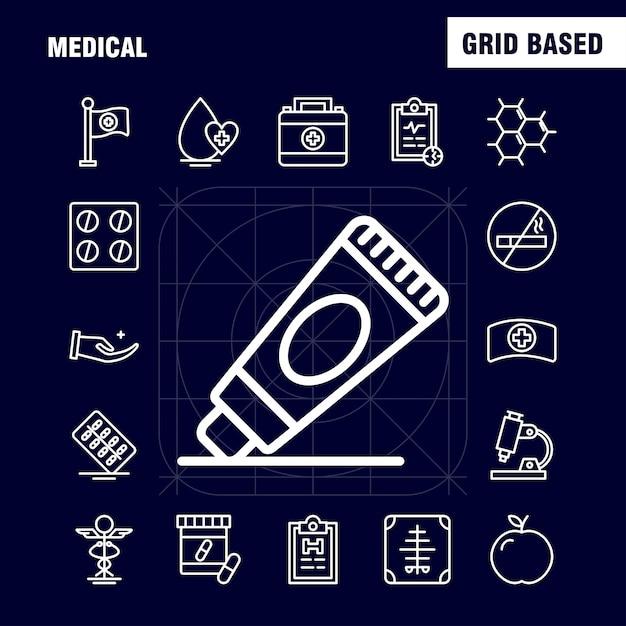 Medizinische linie icons set: wassermelone, melone, obst, lebensmittel, knochen, knochenbrüche Kostenlosen Vektoren