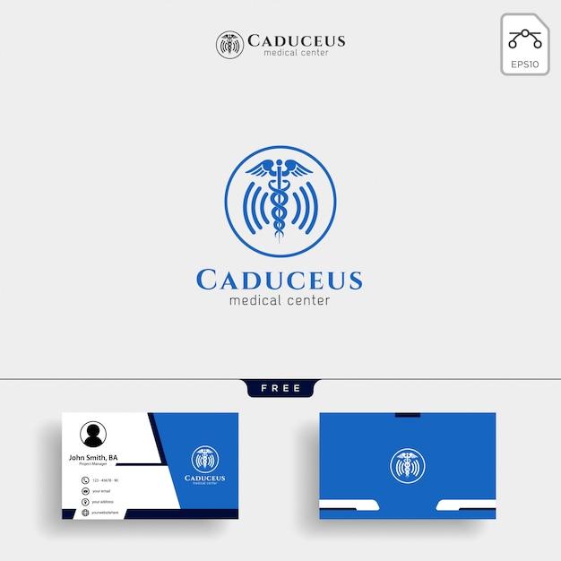 Medizinische logo vorlage mit visitenkarte Premium Vektoren