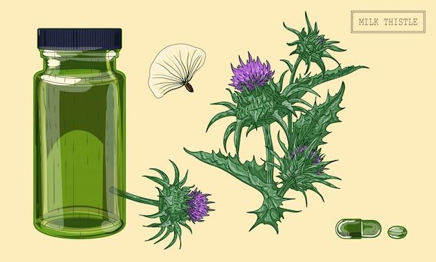 Medizinische mariendistelpflanze und grünes glasfläschchen Premium Vektoren