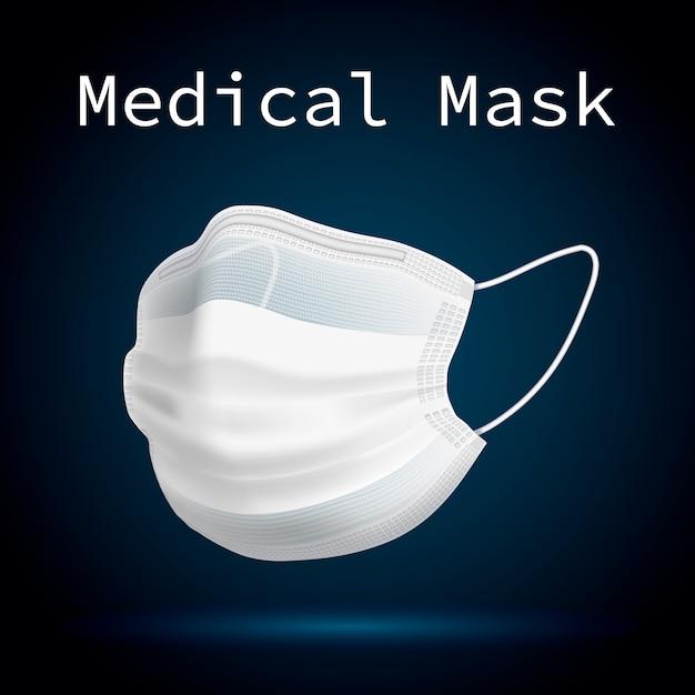 Medizinische maske zum schutz von menschen vor viren und verschmutzter luft. 3d-volumenbild. Premium Vektoren