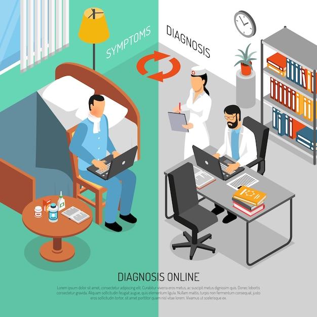 Medizinische onlinediagnose isometrische banner Kostenlosen Vektoren