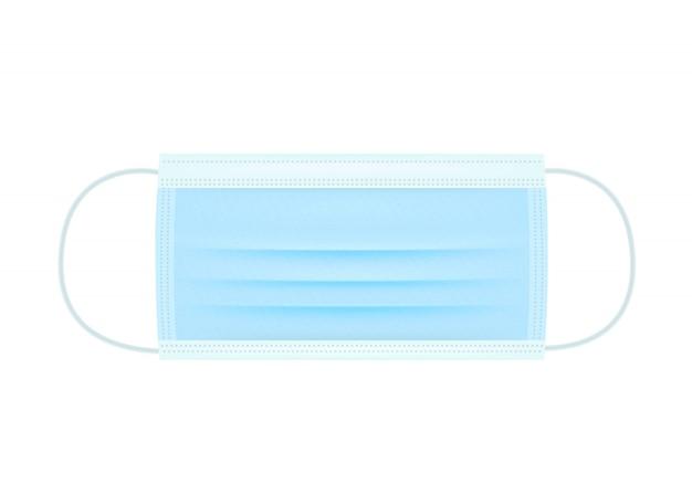 Medizinische operationsmaske verhindert coronavirus. schutz vor viren und krankheiten schützen gesichtsmaske isoliert auf weißem hintergrund. medizinische maske realistische datei. Premium Vektoren