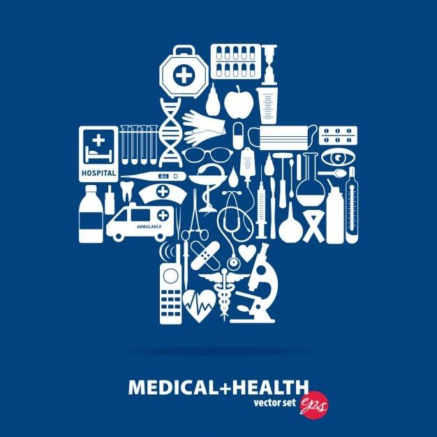 Medizinische satz kreuz illustration Kostenlosen Vektoren