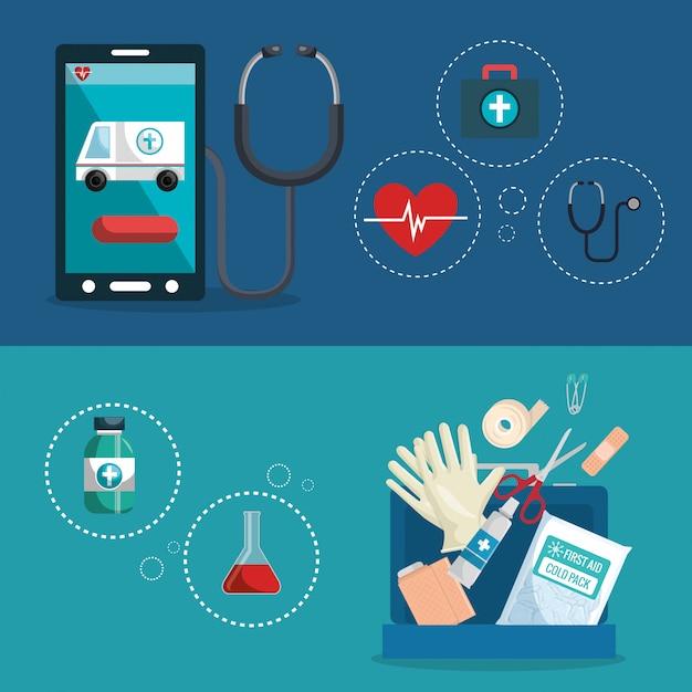 Medizinische service set symbole Kostenlosen Vektoren