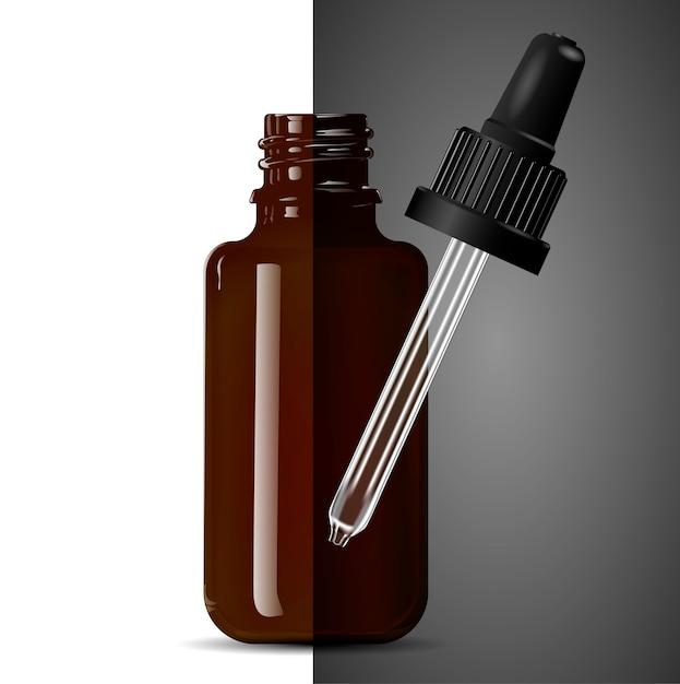 Medizinische tropfflasche aus dunkelbraunem transparentem glas. Premium Vektoren