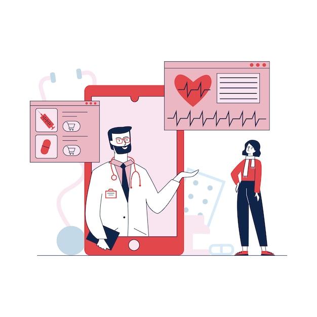 Medizinische unterstützung und behandlung per smartphone Kostenlosen Vektoren