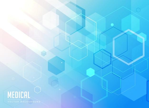 Medizinische versorgung blauen hintergrund mit sechseckigen geometrischen formen Kostenlosen Vektoren