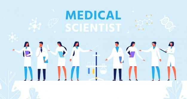 Medizinische wissenschaftler legen präsentation flache banner Premium Vektoren