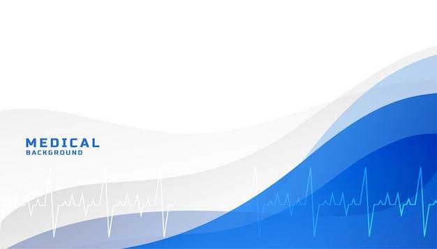 Medizinischer blauer hintergrund des gesundheitswesens mit lebenslinie Kostenlosen Vektoren