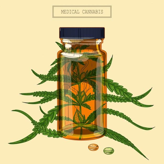 Medizinischer cannabis-zweig und fläschchen und pillen Premium Vektoren