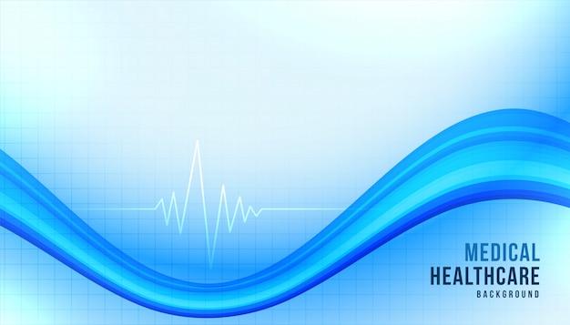 Medizinischer gesundheitshintergrund mit blauer wellenform Kostenlosen Vektoren