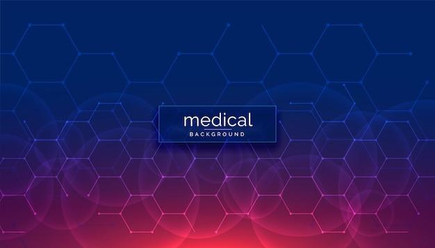 Medizinischer hintergrund des gesundheitswesens mit sechseckigen formen Kostenlosen Vektoren