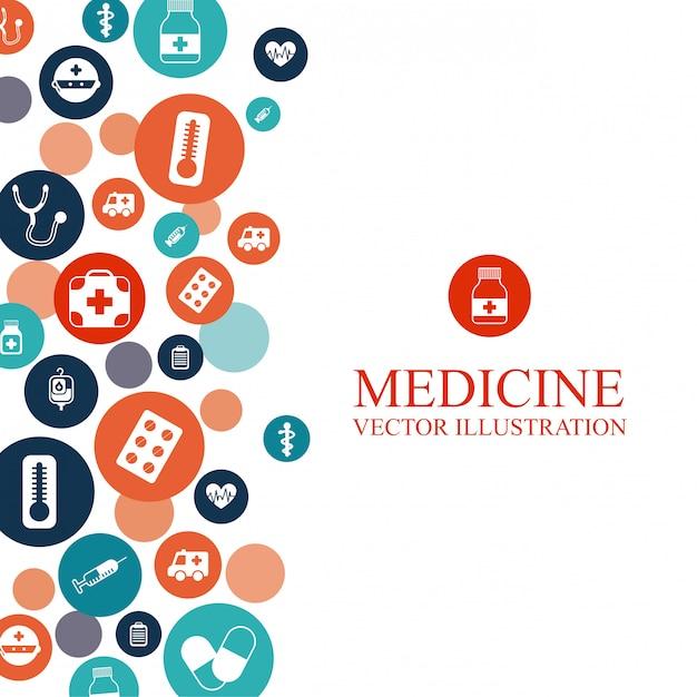 Medizinischer hintergrund mit elementen grafikdesign Kostenlosen Vektoren
