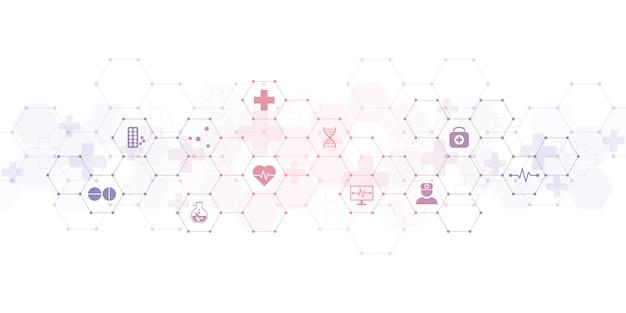 Medizinischer hintergrund mit flachen symbolen und symbolen Premium Vektoren