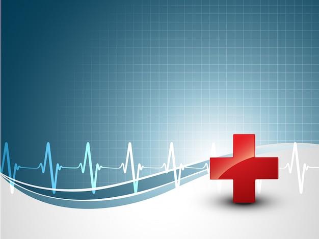 Medizinischer hintergrund mit herzschlag und pluszeichen Kostenlosen Vektoren