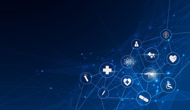 Medizinischer innovationshintergrund des gesundheitswesenikonen-musters Premium Vektoren