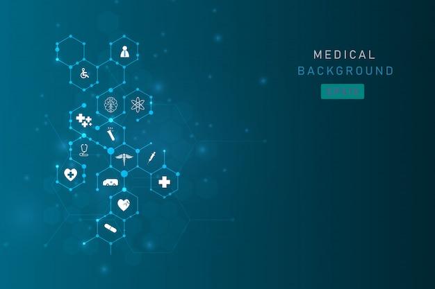 Medizinischer innovationshintergrund des gesundheitswesens Premium Vektoren