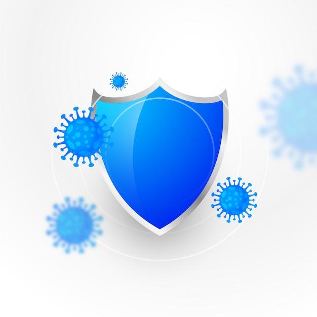 Medizinischer schutzschild, der das coronavirus stoppt und zerstört Kostenlosen Vektoren