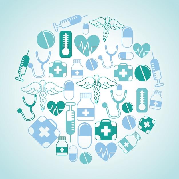 Medizinisches design über blauer hintergrundvektorillustration Premium Vektoren