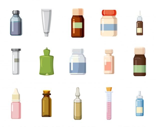 Medizinisches flaschenset. karikatursatz der medizinischen flasche Premium Vektoren