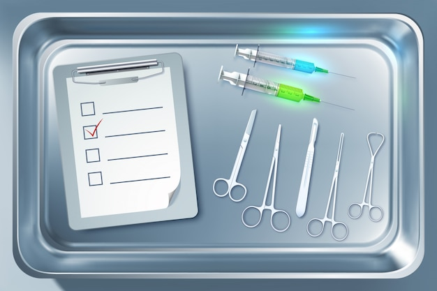 Medizinisches gerätekonzept mit spritzen pinzette skalpell schere zwischenablage in metallsterilisator isolierte illustration Premium Vektoren
