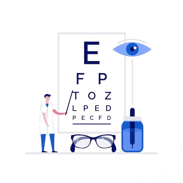 Medizinisches illustrationskonzept der augenheilkunde mit zeichen. doktor, der nahe augentestkarte steht. Premium Vektoren