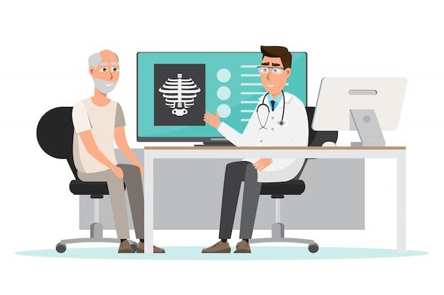 Medizinisches konzept arzt und patient im krankenhausinnenraum Premium Vektoren