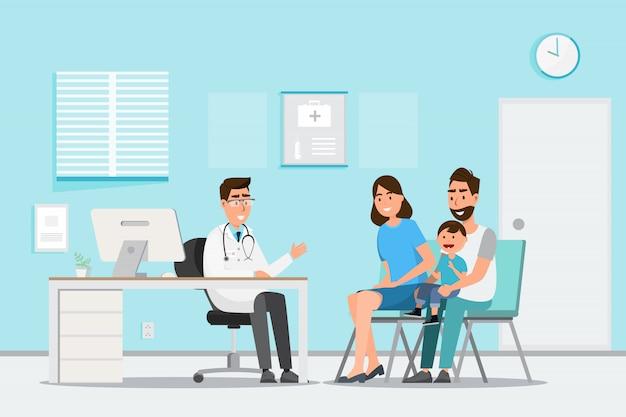 Medizinisches konzept mit doktor und patienten in der flachen karikatur auf krankenhaushalle Premium Vektoren