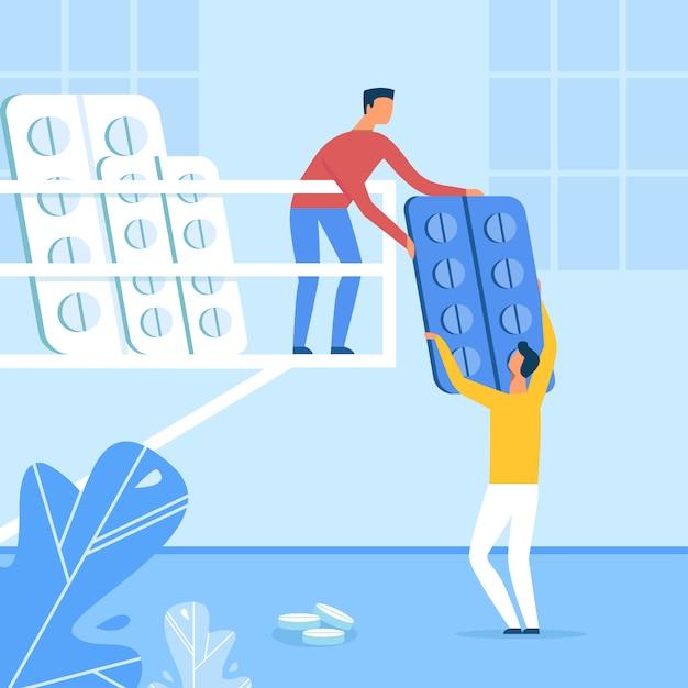 Medizinisches personal, das tabletten in der blasen-karikatur sortiert Premium Vektoren