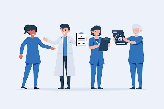 Medizinisches team junger ärzte Kostenlosen Vektoren