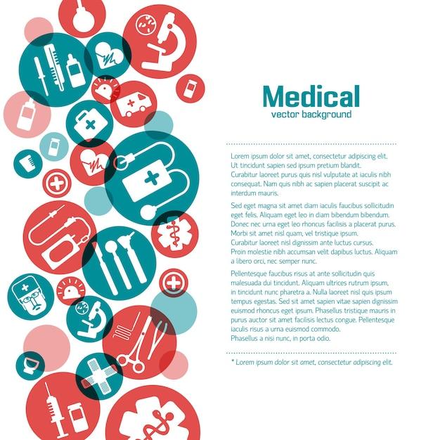 Medizinisches wissenschaftsplakat mit symbolen in den roten und grünen kreisen auf weiß Premium Vektoren