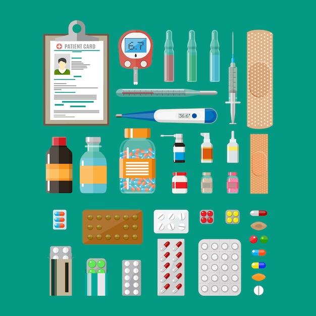 Medizinpillen kapseln und gesundheitsgeräte Premium Vektoren