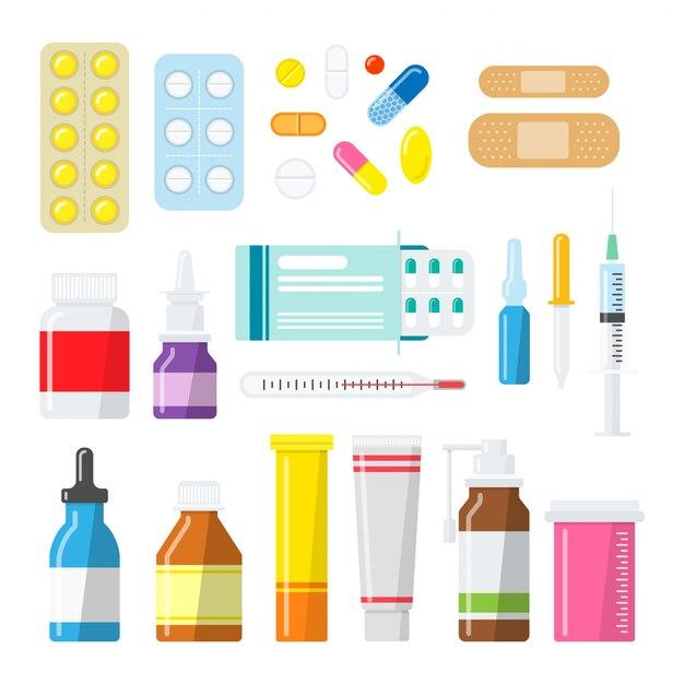 Medizinpillen, tabletten und flaschen in einem flachen stil Premium Vektoren