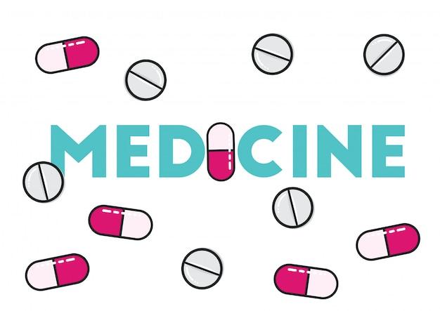 Medizinpillengesundheitswesen-illustrationsvektor Premium Vektoren