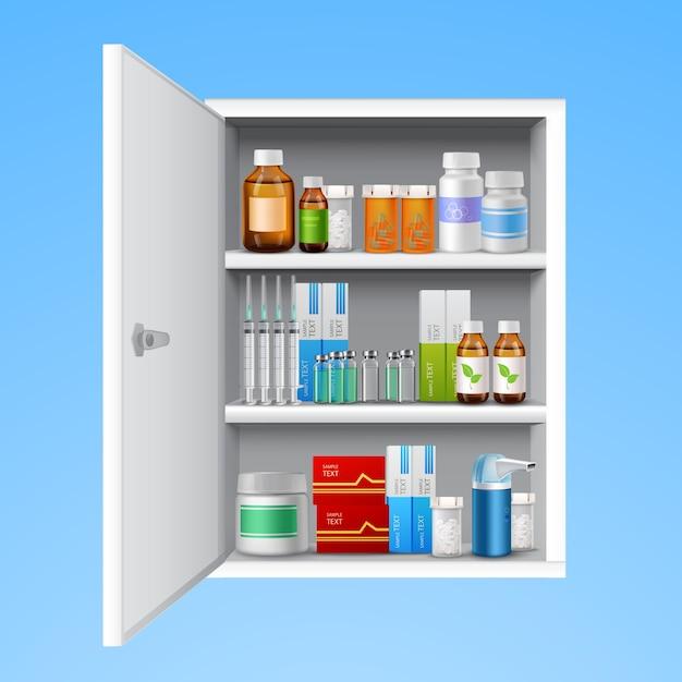 Medizinschrank realistisch Kostenlosen Vektoren