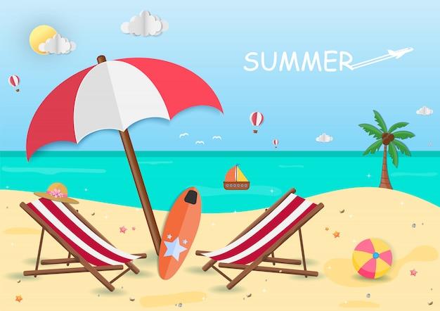 Meer in der sommerzeit. blick auf die hintergrundgestaltung. Premium Vektoren