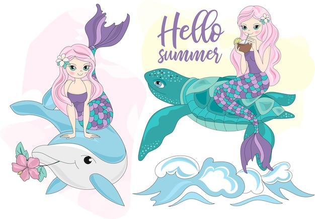 Meer reisen clipart farbe vektor illustration set meerjungfrau schildkröte delphin Premium Vektoren