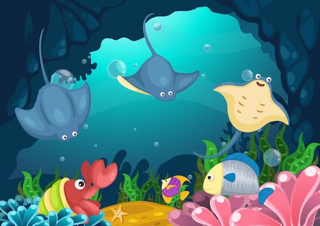 Meeresflora und -fauna unter dem seevektor Premium Vektoren