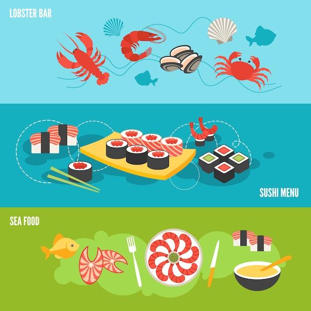 Meeresfrüchte-banner-set Premium Vektoren