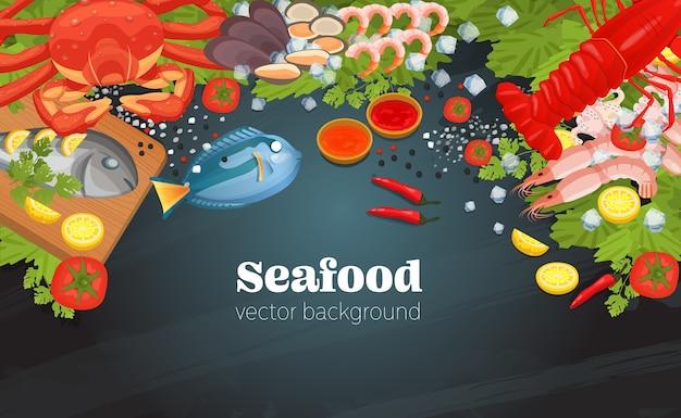 Meeresfrüchte draufsicht hintergrund Premium Vektoren