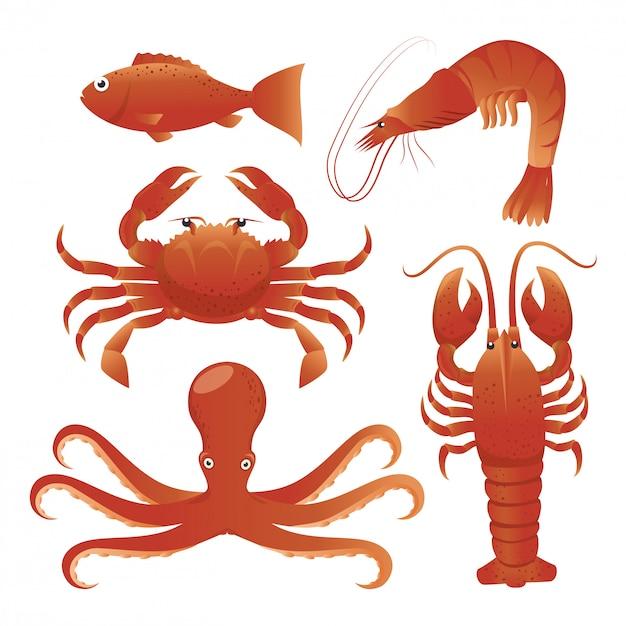 Meeresfrüchte-gastronomie Premium Vektoren