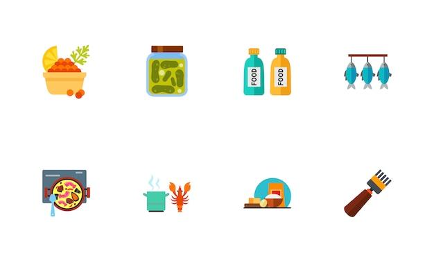 Meeresfrüchte-icon-set Kostenlosen Vektoren